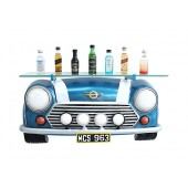 Wandregal Mini Cooper Blau mit Glasplatte