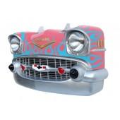 Wanddeko Chevy Rosa Front mit hellblauen Flammen