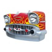 Wanddeko Chevy Rot Front mit orangenen Flammen