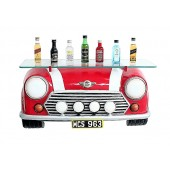 Wandregal Mini Cooper Rot mit Glasplatte