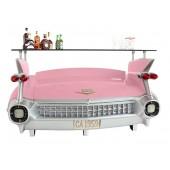 Bar Cadillac Rosa mit rot orangenen Flammen und Kofferraumschran