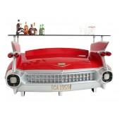 Bar Cadillac Rot mit blauen Flammen und Kofferraumschrank