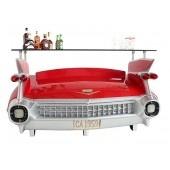 Bar Cadillac Rot mit orangenen Flammen und Kofferraumschrank
