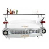 Bar Cadillac Weiß mit roten Flammen und Kofferraumschrank