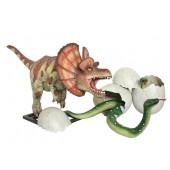 Dinosaurier Dilophosaurus greift Anakonda in Ei an