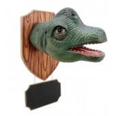 Dinosaurier Brachiosauruskopf auf Holz mit Angebotsschild