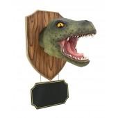 Dinosaurier Tyrannosauruskopf auf Holz mit Angebotsschild