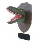 Dinosaurier Raptorkopf grün auf Holz mit Angebotsschild
