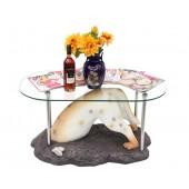 Hund buddelnd Tisch mit Glasplatte