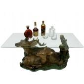 Rentier Tisch mit Glasplatte