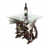 Geweih Tisch mit Glasplatte und Weinhalterung