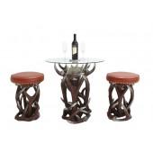 Geweih Tischlein mit Glasplatte und Hockern