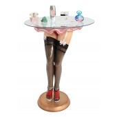 Sexy Frauenbeine mit schwarzen Strümpfen Tisch mit Glasplatte