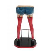 Sexy Frauenbeine Rot mit Jeans Shorts Barhocker