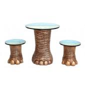 Elefantenbein gold Tisch und Hocker mit Dschungelmotiv