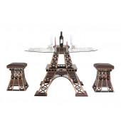 Eiffelturmhälfte Tisch mit Glasplatte und Hockern