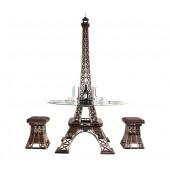 Eiffelturm Tisch mit Glasplatte und Hockern