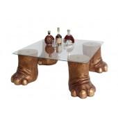 Elefantenbeine gold Tisch mit Glasplatte