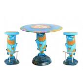 Blauer Koi Karpfen Tisch mit Hockern