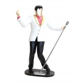 Elvis im weißen Jackett mit Mikro ohne Gesicht