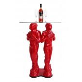 Preisfigurtisch Rot mit Glasplatte