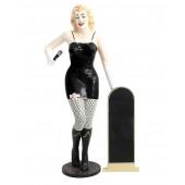 Marilyn schwarz netz mit Mikrofon und Angebotstafel