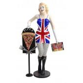 Marilyn wunsch mit Menükarte und PizzaTafel