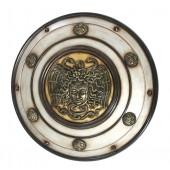 Antikes Mittelalterliches Schild mit Medusa Weiß Gold