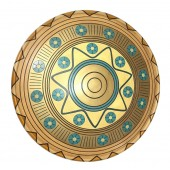 Antikes Mittelalterliches Schild Gold Blau