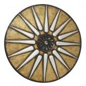 Antikes Mittelalterliches Schild Gold Weiß