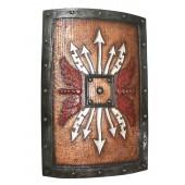 Antikes Mittelalterliches Schild mit weißen Pfeilen