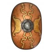 Antikes Mittelalterliches Schild Oval Orange mit goldenen Pfeile