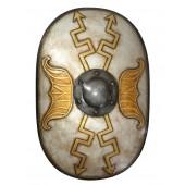 Antikes Mittelalterliches Schild Oval Weiß mit goldenen Pfeilen