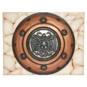 Antikes Mittelalterliches Schild mit Medusa Bronze auf Mosaik für Wand