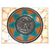 Antikes Mittelalterliches Schild mit Medusa Orange Blau Grün auf