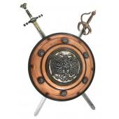 Antikes Schild mit Medusa Bronze und 2 Schwertern