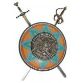 Antikes Schild mit Medusa Orange Blau Grün und 2 Schwertern