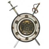 Antikes Schild mit Medusa Weiß Gold und 2 Schwertern