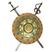 Antikes Schild Gold Blau mit 2 Schwertern