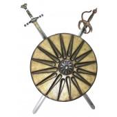 Antikes Schild Gold mit 2 Schwertern