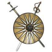 Antikes Schild Gold Weiß mit 2 Schwertern