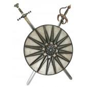 Antikes Schild Silber mit 2 Schwertern