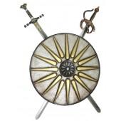 Antikes Schild Silber Gold mit 2 Schwertern
