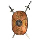 Antikes Schild Oval Orange mit goldenen Pfeilen und 2 Schwertern