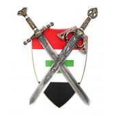 Schild Rot Weiß Schwarz mit grünem Kreuz und Schwertern davor