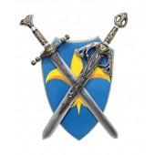 Schild Blau Gelb mit Schwertern davor