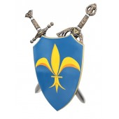 Schild Blau Gelb mit Schwertern dahinter