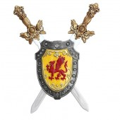 Schild mit rotem Drachen und Schwertern dahinter