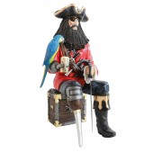 Pirat Blackbeard mit Papagei auf Schatztruhe