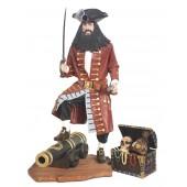 Pirat Blackbeard auf Kanone mit Schatztruhe